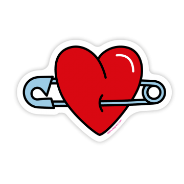 Heart with a safety pin